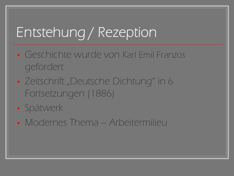 Entstehung / Rezeption Geschichte wurde von Karl Emil Franzos gefordert Zeitschrift Deutsche Dichtung in 6 Fortsetzungen (1886) Spätwerk Modernes Them