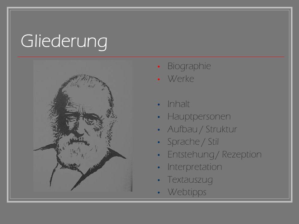 Gliederung Biographie Werke Inhalt Hauptpersonen Aufbau / Struktur Sprache / Stil Entstehung / Rezeption Interpretation Textauszug Webtipps