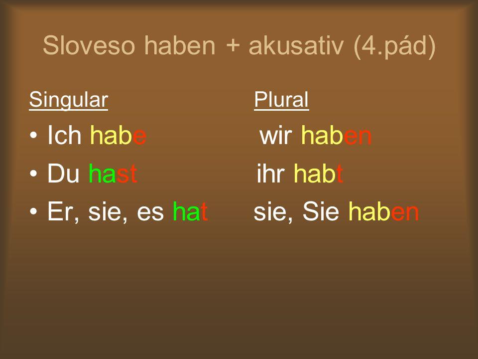 Sloveso haben + akusativ (4.pád) Singular Plural Ich habe wir haben Du hast ihr habt Er, sie, es hat sie, Sie haben