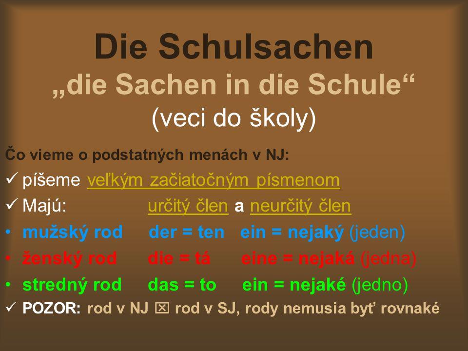 Die Schulsachen die Sachen in die Schule (veci do školy) Čo vieme o podstatných menách v NJ: píšeme veľkým začiatočným písmenom Majú: určitý člen a neurčitý člen mužský rod der = ten ein = nejaký (jeden) ženský rod die = tá eine = nejaká (jedna) stredný rod das = to ein = nejaké (jedno) POZOR: rod v NJ rod v SJ, rody nemusia byť rovnaké