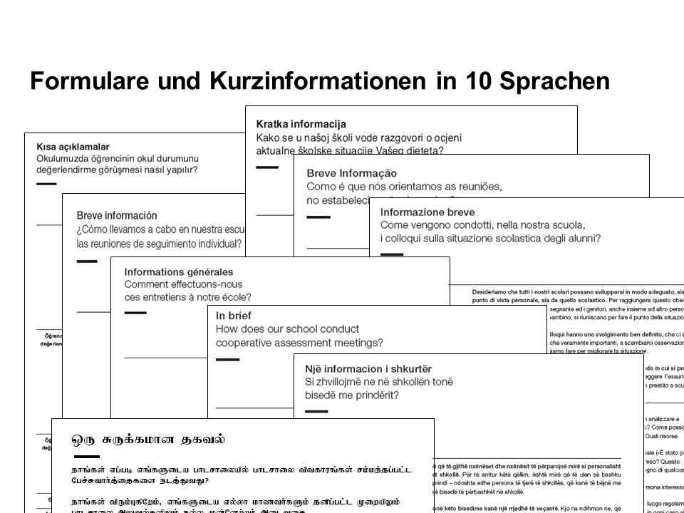 Seite 12 Schulische Standortgespräche Formulare und Kurzinformationen in 10 Sprachen