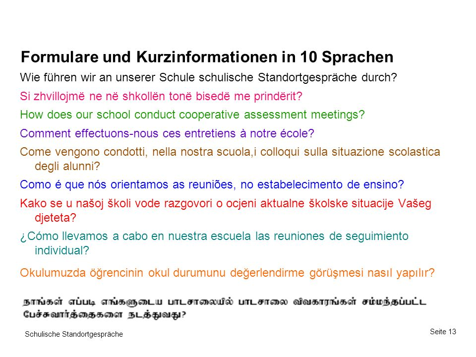Seite 13 Schulische Standortgespräche Formulare und Kurzinformationen in 10 Sprachen Wie führen wir an unserer Schule schulische Standortgespräche durch.