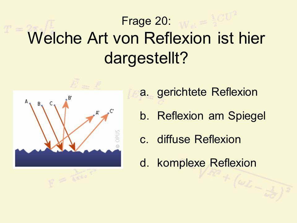 Frage 20: Welche Art von Reflexion ist hier dargestellt? a.gerichtete Reflexion b.Reflexion am Spiegel c.diffuse Reflexion d.komplexe Reflexion