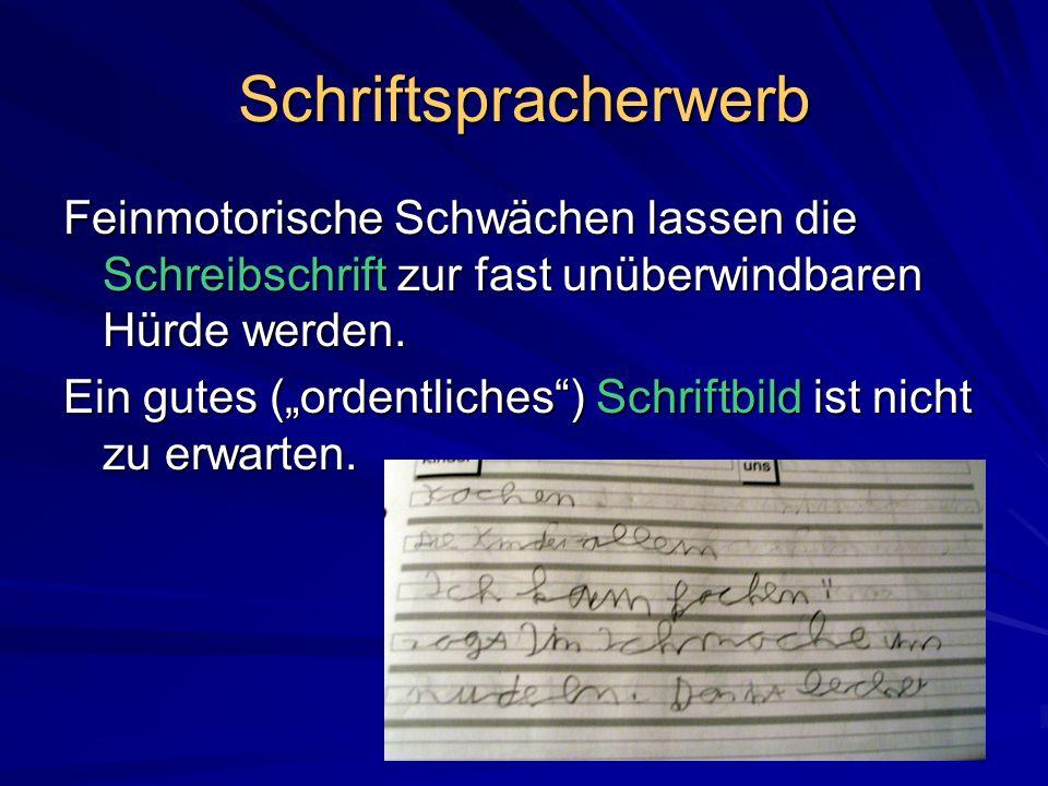 Schriftspracherwerb Feinmotorische Schwächen lassen die Schreibschrift zur fast unüberwindbaren Hürde werden. Ein gutes (ordentliches) Schriftbild ist