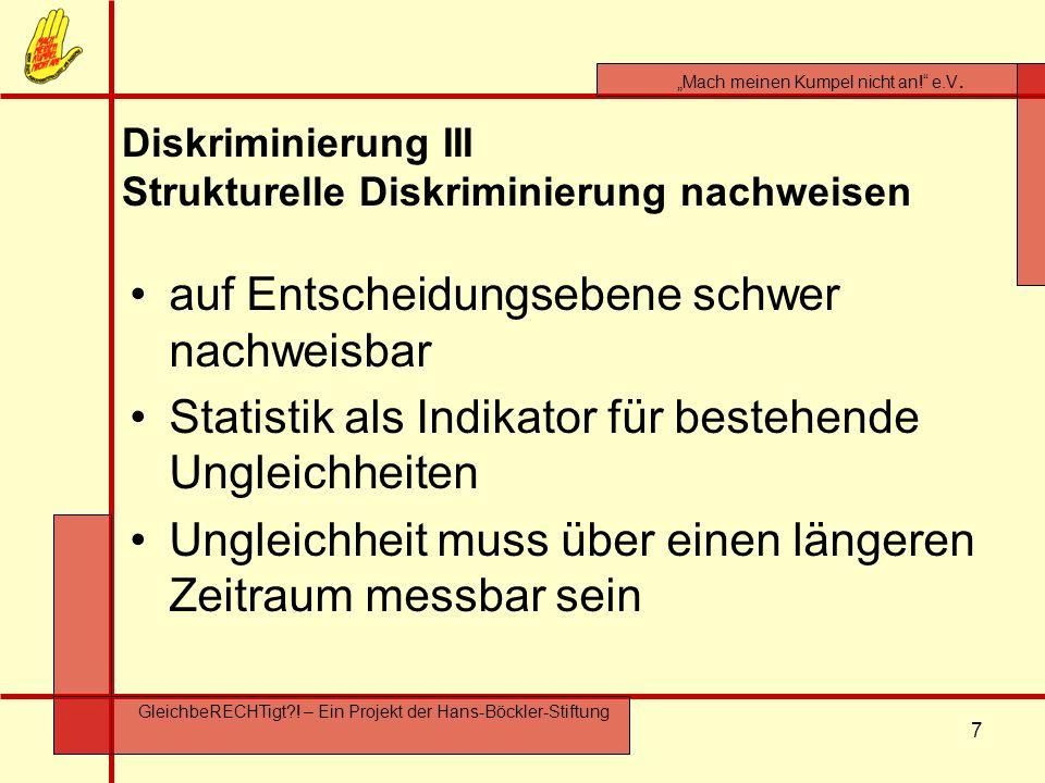 7 Mach meinen Kumpel nicht an! e.V. GleichbeRECHTigt?! – Ein Projekt der Hans-Böckler-Stiftung Diskriminierung III Strukturelle Diskriminierung nachwe