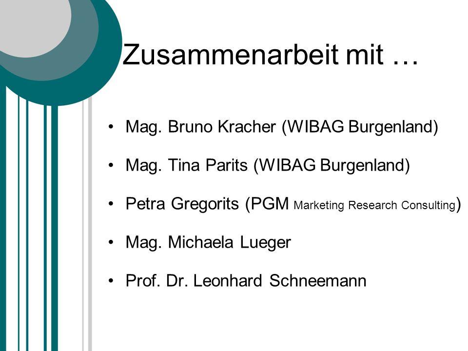 Zusammenarbeit mit … Mag. Bruno Kracher (WIBAG Burgenland) Mag. Tina Parits (WIBAG Burgenland) Petra Gregorits (PGM Marketing Research Consulting ) Ma