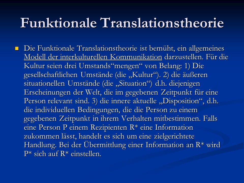 Funktionale Translationstheorie Falls P* und R* unterschiedlichen Kulturen angehören und der Unterschied so groß ist, dass sie nicht direkt miteinander kommunizieren können, muss sich P* jemanden suchen, der beide Kulturen kennt – d.h.
