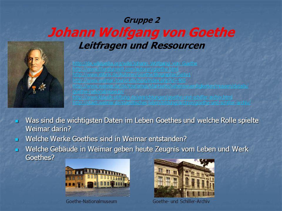 Gruppe 2 Johann Wolfgang von Goethe Leitfragen und Ressourcen Was sind die wichtigsten Daten im Leben Goethes und welche Rolle spielte Weimar darin.