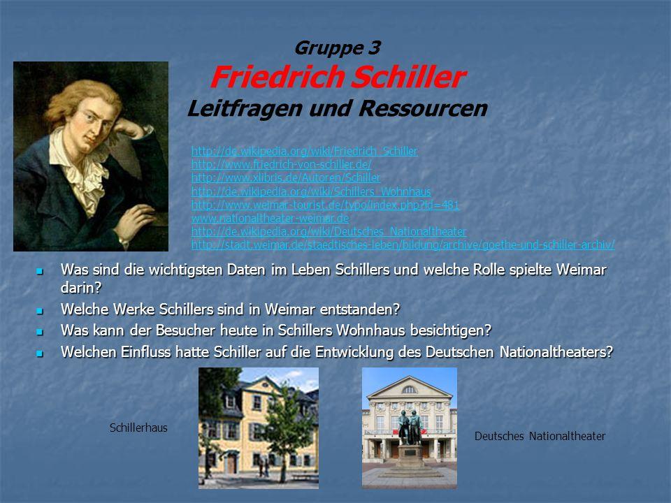 Gruppe 3 Friedrich Schiller Leitfragen und Ressourcen Was sind die wichtigsten Daten im Leben Schillers und welche Rolle spielte Weimar darin? Was sin