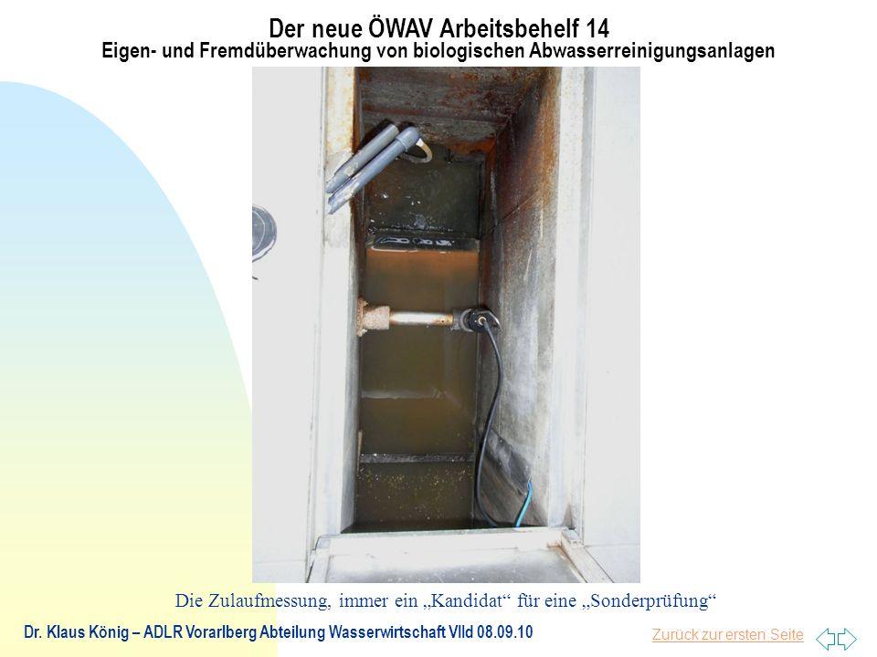 Zurück zur ersten Seite Der neue ÖWAV Arbeitsbehelf 14 Eigen- und Fremdüberwachung von biologischen Abwasserreinigungsanlagen Dr.
