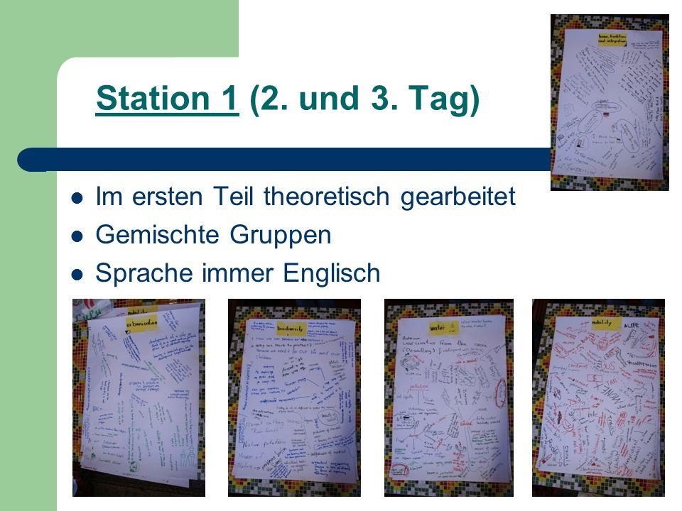 Station 1 (2. und 3. Tag) Im ersten Teil theoretisch gearbeitet Gemischte Gruppen Sprache immer Englisch