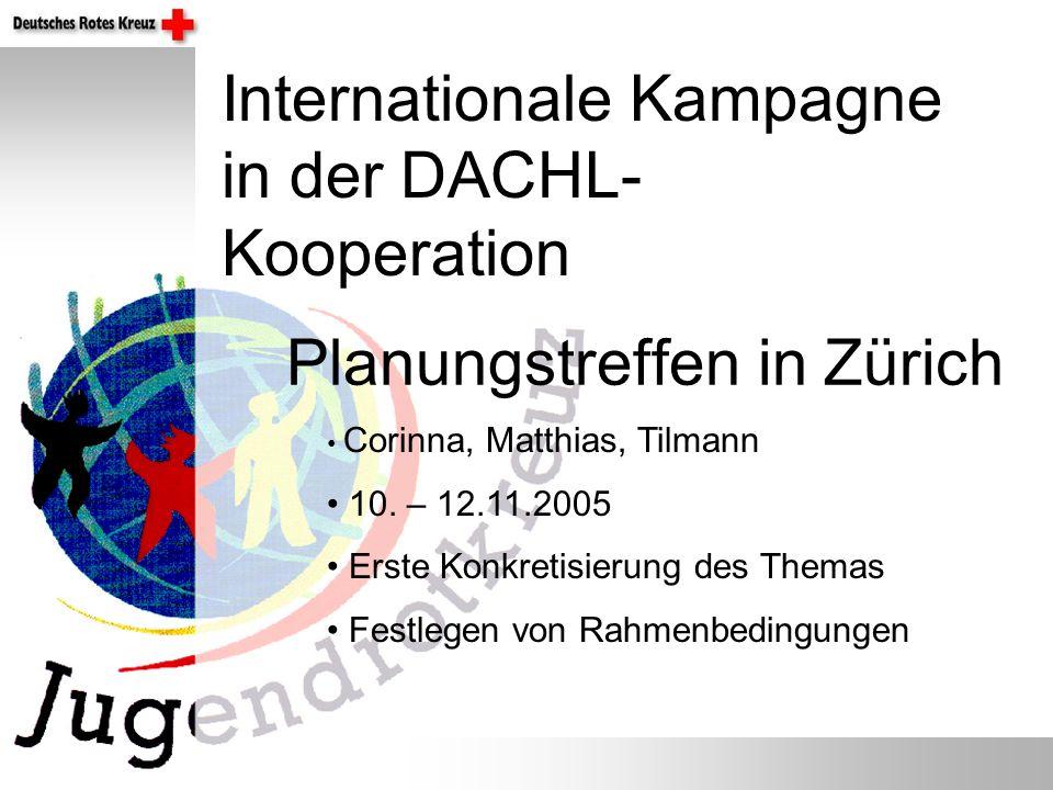 Planungstreffen in Zürich Internationale Kampagne in der DACHL- Kooperation Corinna, Matthias, Tilmann 10. – 12.11.2005 Erste Konkretisierung des Them
