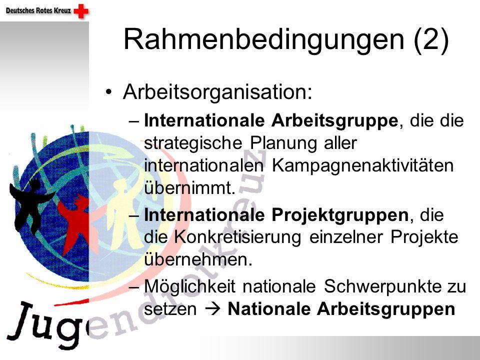 Rahmenbedingungen (2) Arbeitsorganisation: –Internationale Arbeitsgruppe, die die strategische Planung aller internationalen Kampagnenaktivitäten über