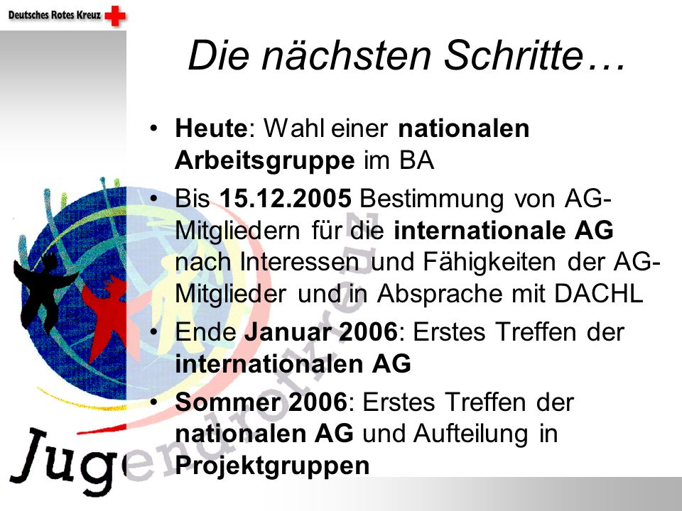 Die nächsten Schritte… Heute: Wahl einer nationalen Arbeitsgruppe im BA Bis 15.12.2005 Bestimmung von AG- Mitgliedern für die internationale AG nach I