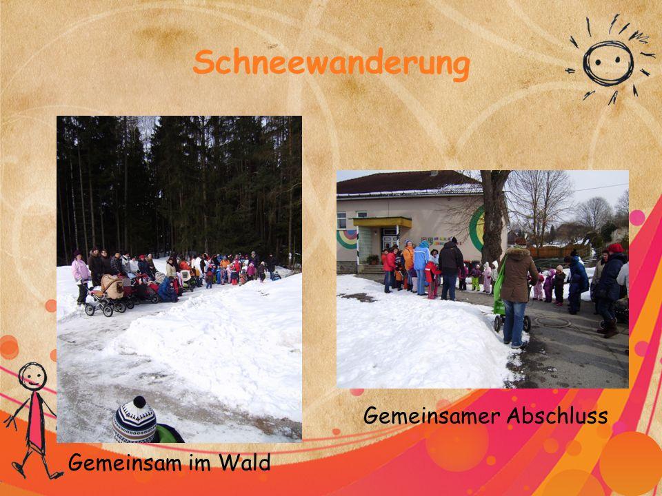 Schneewanderung Gemeinsam im Wald Gemeinsamer Abschluss