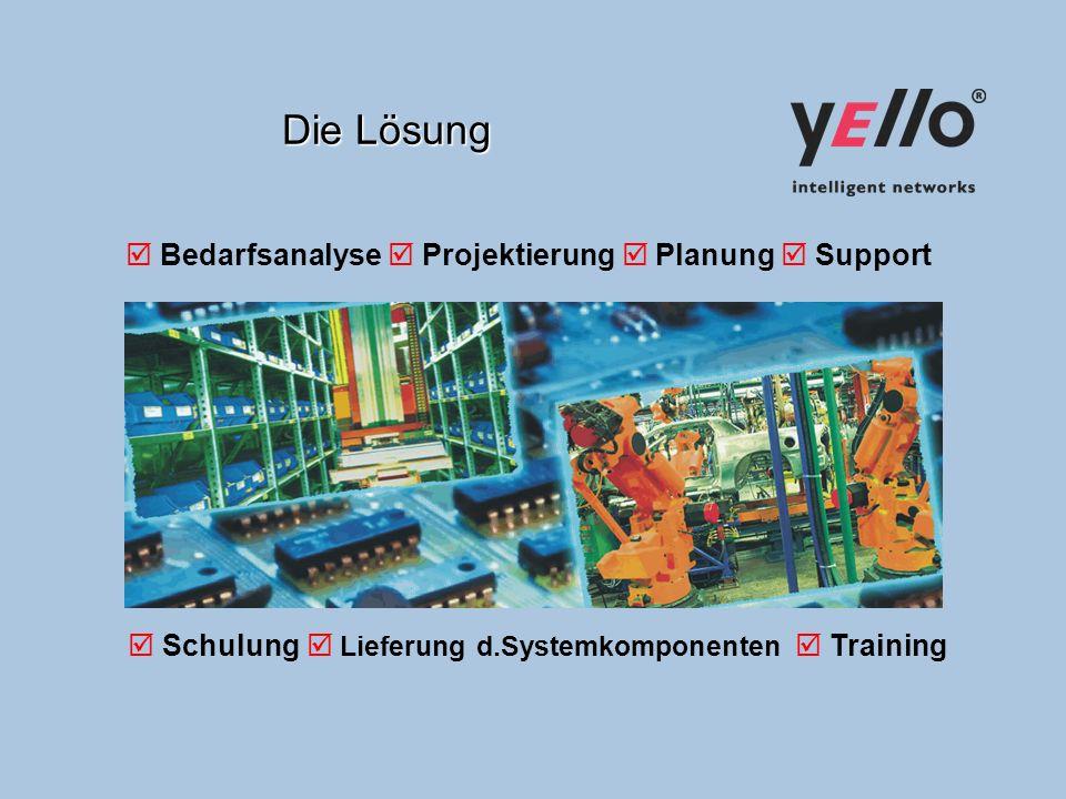 Die Lösung Bedarfsanalyse Projektierung Planung Support Schulung Lieferung d.Systemkomponenten Training