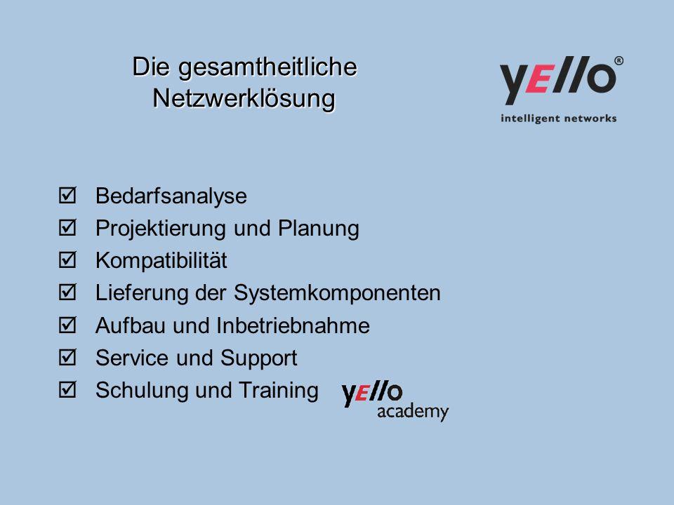 Die gesamtheitliche Netzwerklösung Bedarfsanalyse Projektierung und Planung Kompatibilität Lieferung der Systemkomponenten Aufbau und Inbetriebnahme Service und Support Schulung und Training