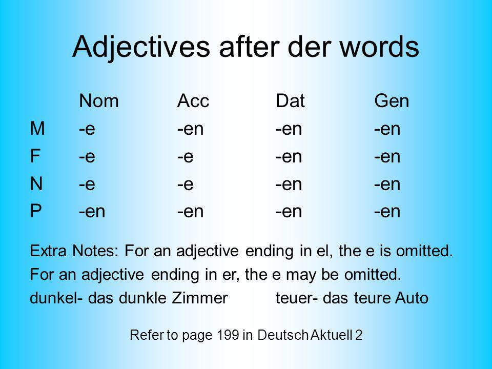 Adjectives after der words NomAccDatGen M-e-en-en-en F-e-e-en-en N-e-e-en-en P-en-en-en-en Extra Notes: For an adjective ending in el, the e is omitte