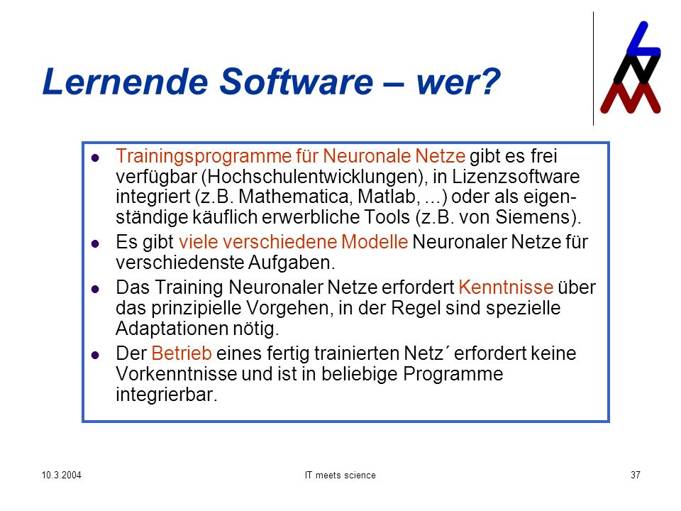 IT meets science37 Lernende Software – wer.