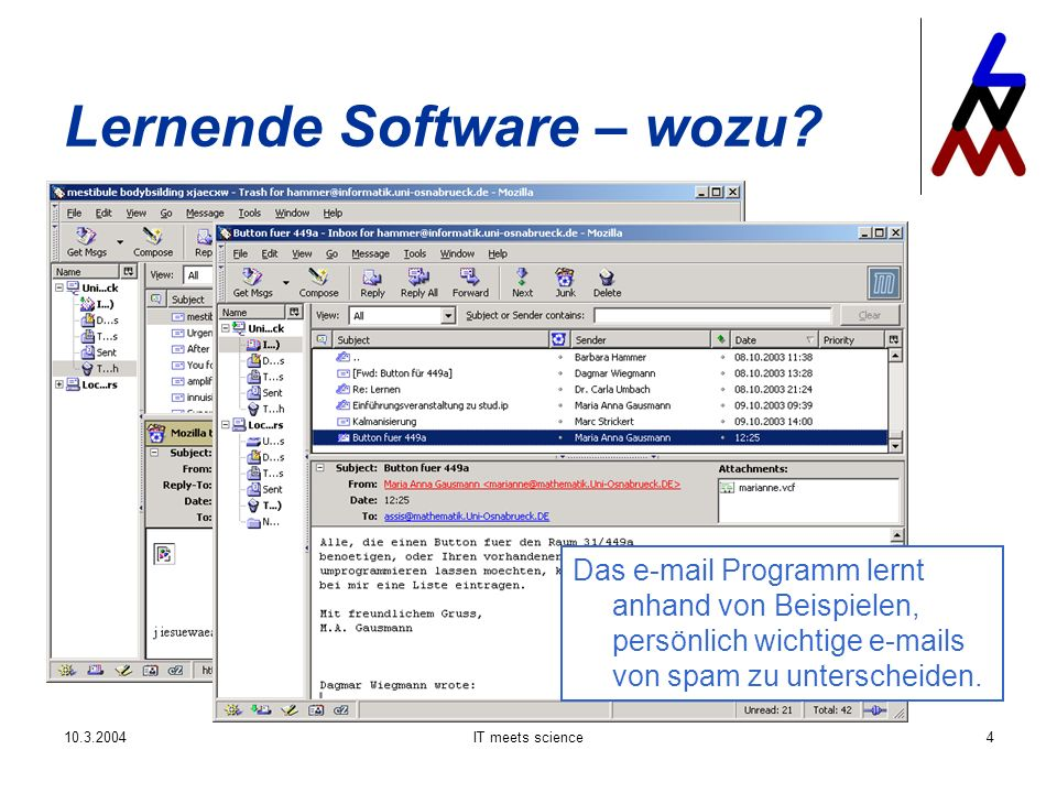 10.3.2004IT meets science35 Lernende Software – wie.