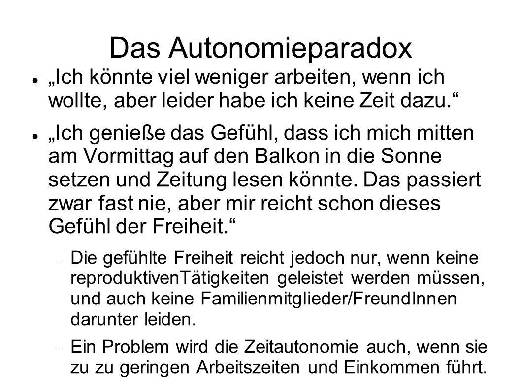 Das Autonomieparadox Ich könnte viel weniger arbeiten, wenn ich wollte, aber leider habe ich keine Zeit dazu. Ich genieße das Gefühl, dass ich mich mi