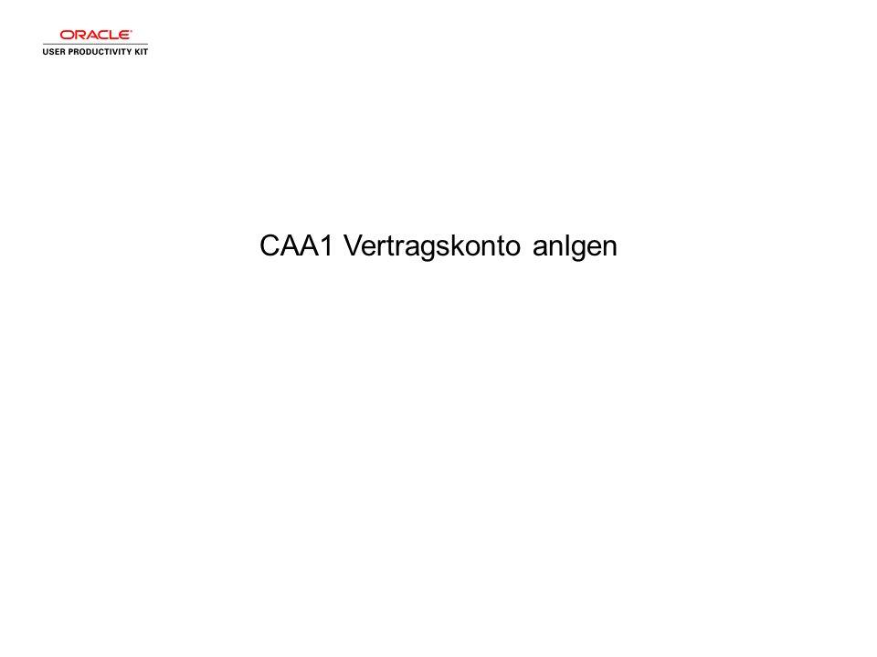 CAA1 Vertragskonto anlgen