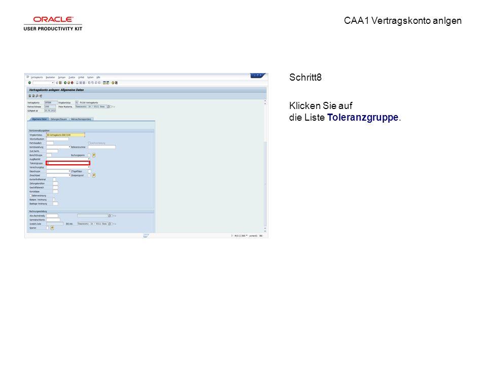 CAA1 Vertragskonto anlgen Schritt8 Klicken Sie auf die Liste Toleranzgruppe.