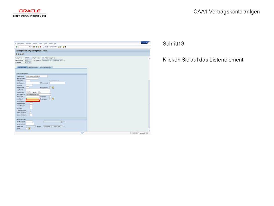 CAA1 Vertragskonto anlgen Schritt13 Klicken Sie auf das Listenelement.