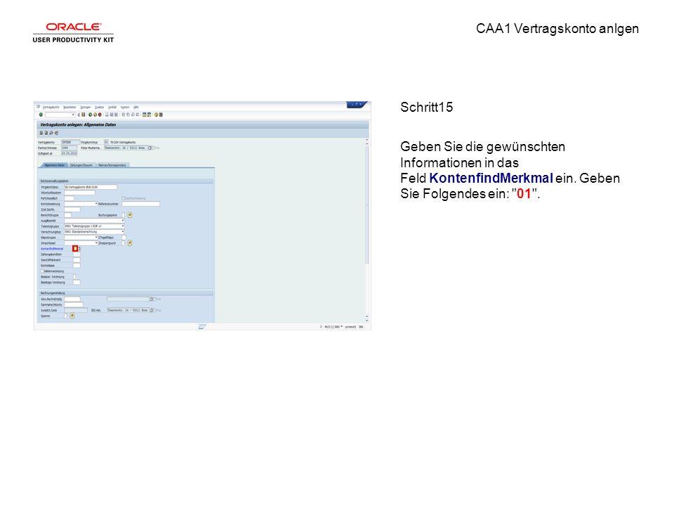 CAA1 Vertragskonto anlgen Schritt15 Geben Sie die gewünschten Informationen in das Feld KontenfindMerkmal ein.