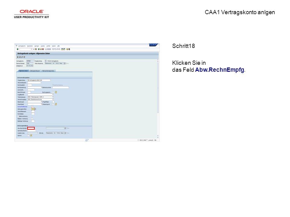 CAA1 Vertragskonto anlgen Schritt18 Klicken Sie in das Feld Abw.RechnEmpfg.