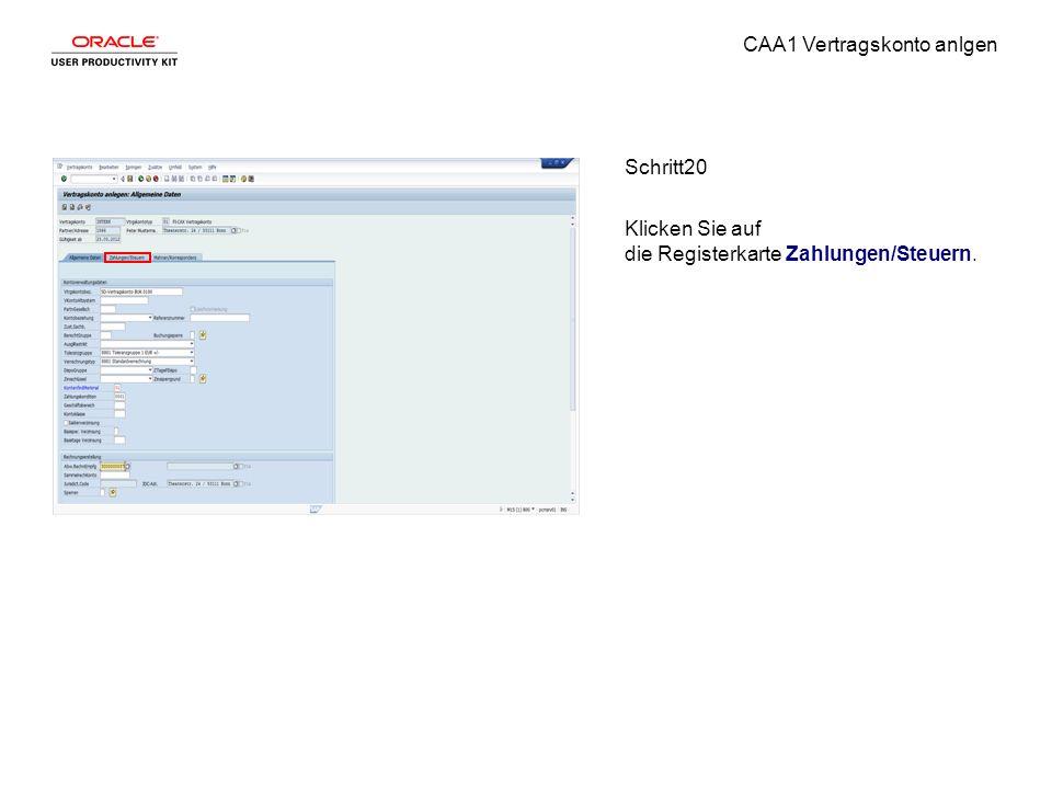 CAA1 Vertragskonto anlgen Schritt20 Klicken Sie auf die Registerkarte Zahlungen/Steuern.