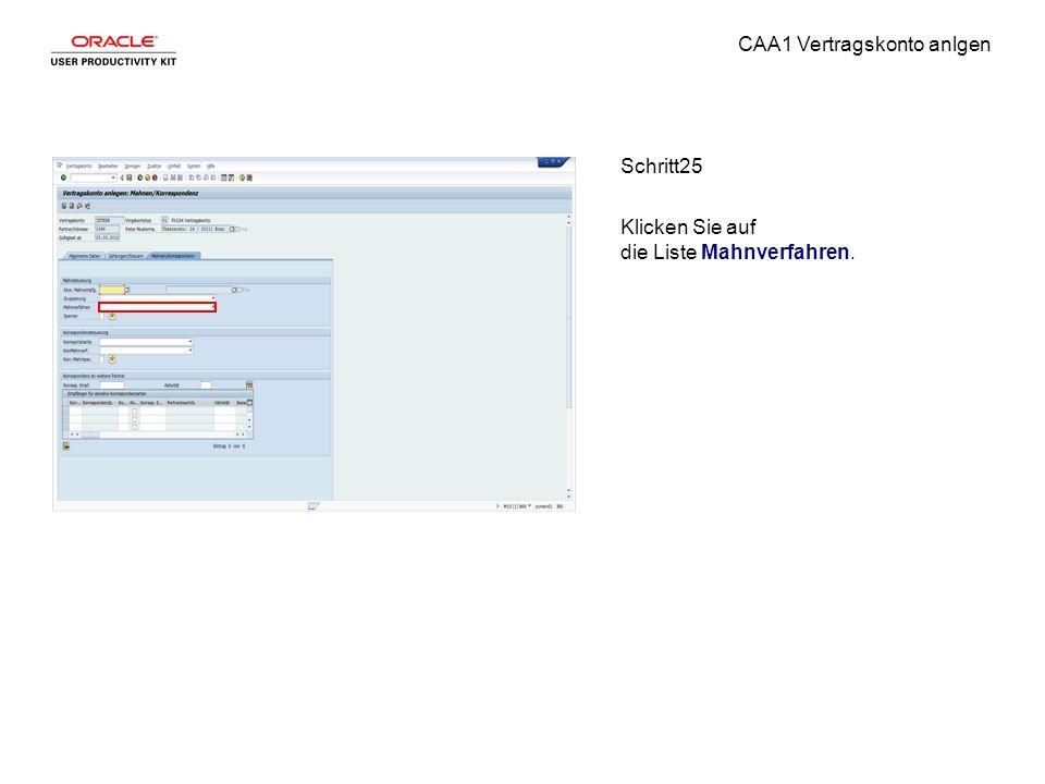 CAA1 Vertragskonto anlgen Schritt25 Klicken Sie auf die Liste Mahnverfahren.