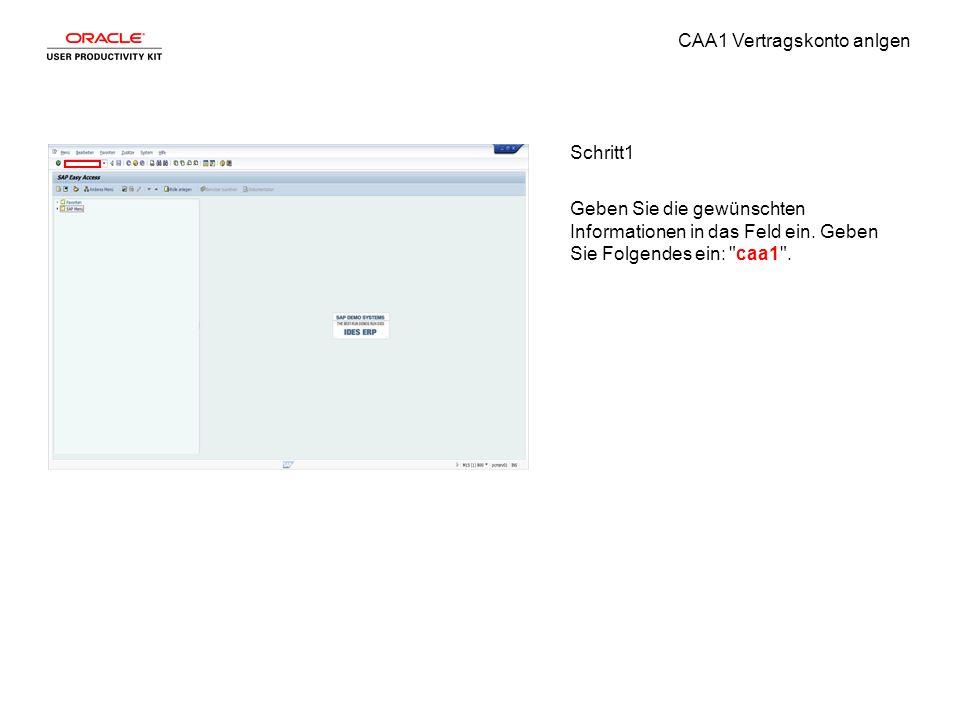 CAA1 Vertragskonto anlgen Schritt1 Geben Sie die gewünschten Informationen in das Feld ein.