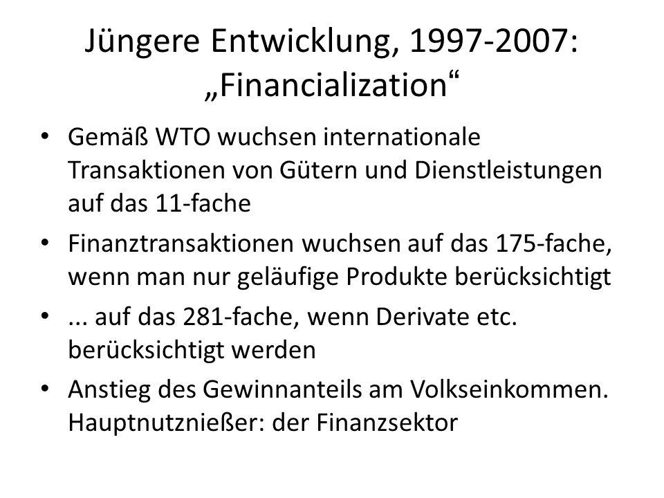 Jüngere Entwicklung, 1997-2007: Financialization Gemäß WTO wuchsen internationale Transaktionen von Gütern und Dienstleistungen auf das 11-fache Finan