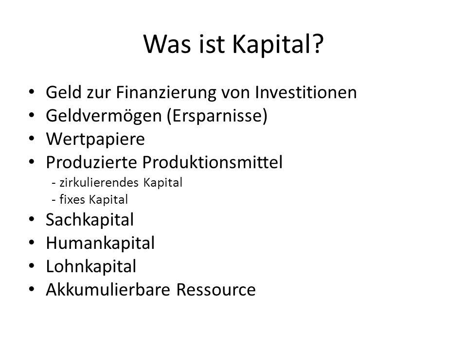 Was ist Kapital? Geld zur Finanzierung von Investitionen Geldvermögen (Ersparnisse) Wertpapiere Produzierte Produktionsmittel - zirkulierendes Kapital