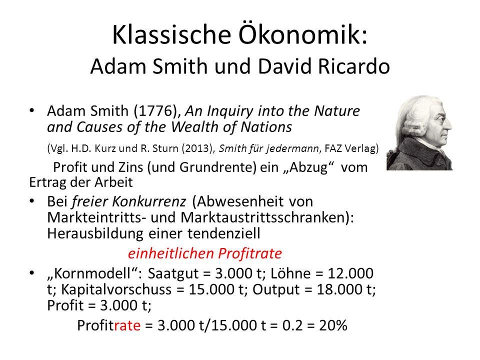 Klassische Ökonomik: Adam Smith und David Ricardo Adam Smith (1776), An Inquiry into the Nature and Causes of the Wealth of Nations (Vgl. H.D. Kurz un