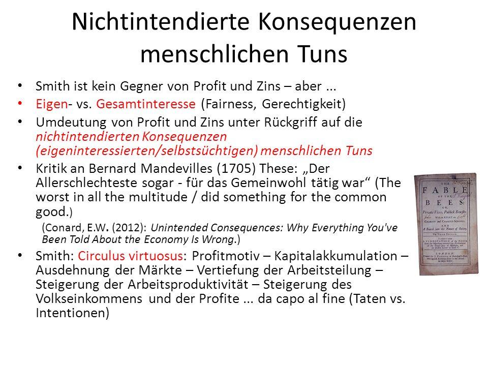 Nichtintendierte Konsequenzen menschlichen Tuns Smith ist kein Gegner von Profit und Zins – aber... Eigen- vs. Gesamtinteresse (Fairness, Gerechtigkei