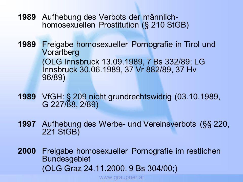 www.graupner.at 1989Aufhebung des Verbots der männlich- homosexuellen Prostitution (§ 210 StGB) 1989Freigabe homosexueller Pornografie in Tirol und Vo