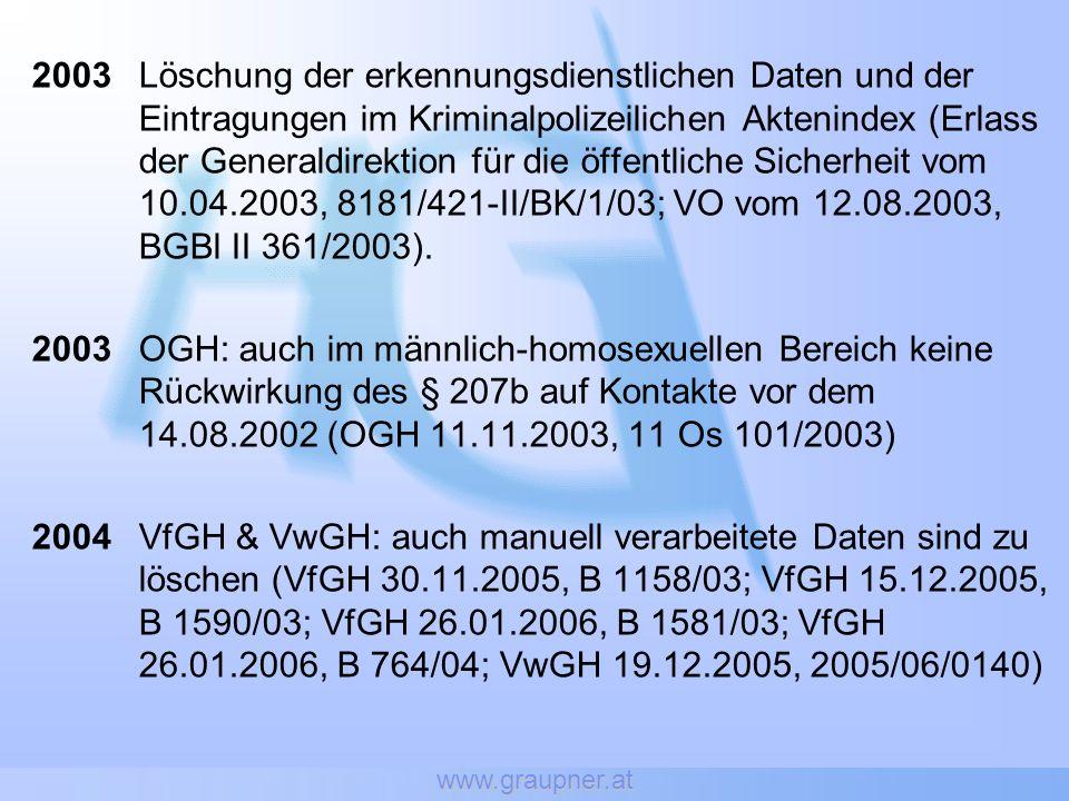 www.graupner.at 2003Löschung der erkennungsdienstlichen Daten und der Eintragungen im Kriminalpolizeilichen Aktenindex (Erlass der Generaldirektion für die öffentliche Sicherheit vom 10.04.2003, 8181/421-II/BK/1/03; VO vom 12.08.2003, BGBl II 361/2003).