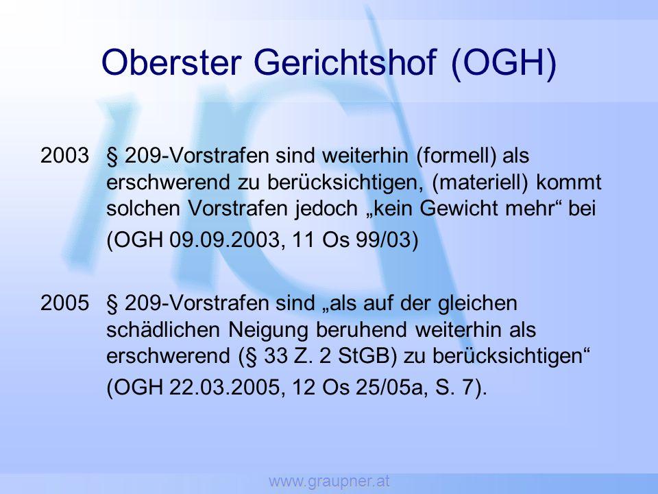 www.graupner.at Oberster Gerichtshof (OGH) 2003§ 209-Vorstrafen sind weiterhin (formell) als erschwerend zu berücksichtigen, (materiell) kommt solchen