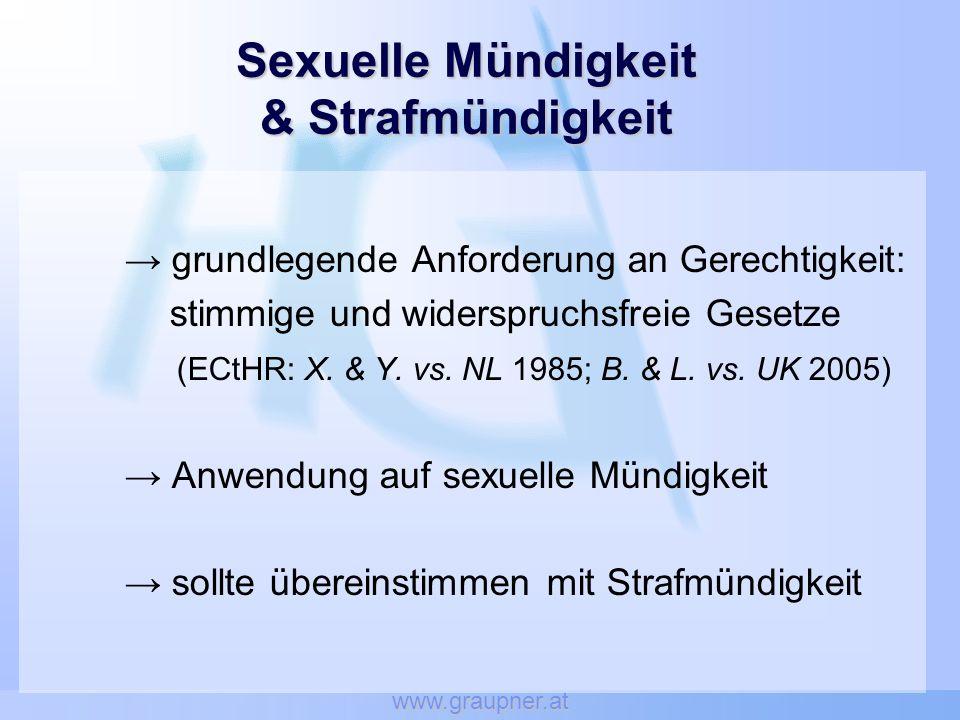 www.graupner.at Sexuelle Mündigkeit & Strafmündigkeit grundlegende Anforderung an Gerechtigkeit: stimmige und widerspruchsfreie Gesetze (ECtHR: X.