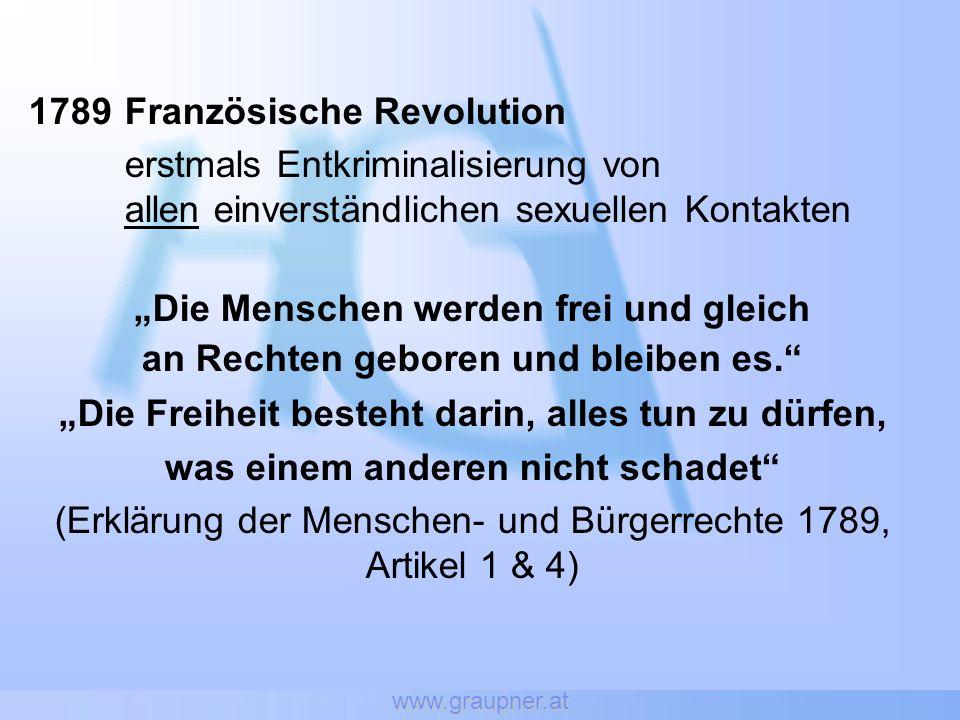 www.graupner.at 1789Französische Revolution erstmals Entkriminalisierung von allen einverständlichen sexuellen Kontakten Die Menschen werden frei und gleich an Rechten geboren und bleiben es.