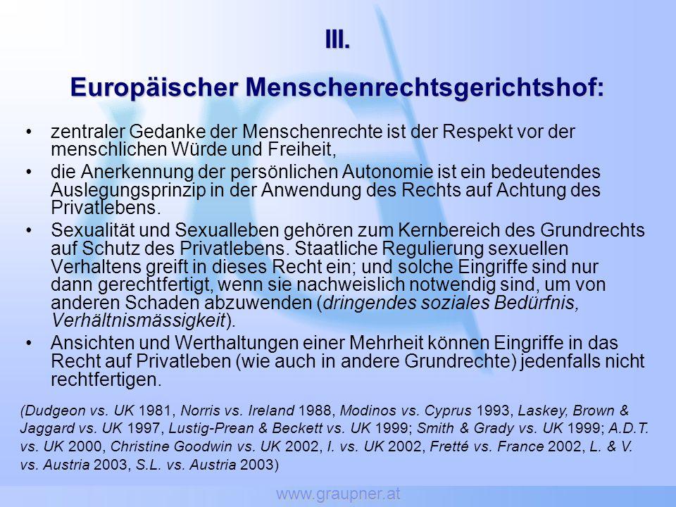 www.graupner.at Transsexualität Recht auf Dokumente, die dem gelebten Geschlecht entsprechen (EGMR: B.