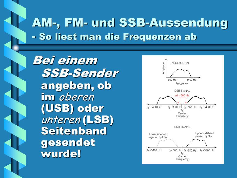 AM-, FM- und SSB-Aussendung - So liest man die Frequenzen ab Bei einem SSB-Sender angeben, ob im oberen (USB) oder unteren (LSB) Seitenband gesendet wurde!