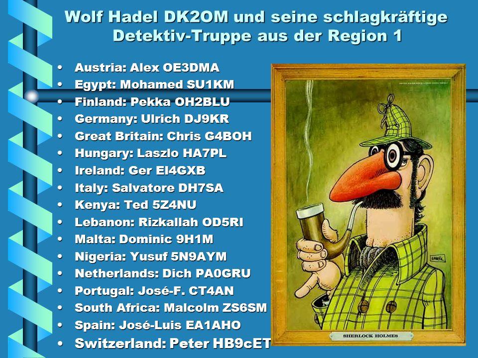 Wolf Hadel DK2OM und seine schlagkräftige Detektiv-Truppe aus der Region 1 Austria: Alex OE3DMA Egypt: Mohamed SU1KM Finland: Pekka OH2BLU Germany: Ulrich DJ9KR Great Britain: Chris G4BOH Hungary: Laszlo HA7PL Ireland: Ger EI4GXB Italy: Salvatore DH7SA Kenya: Ted 5Z4NU Lebanon: Rizkallah OD5RI Malta: Dominic 9H1M Nigeria: Yusuf 5N9AYM Netherlands: Dich PA0GRU Portugal: José-F.