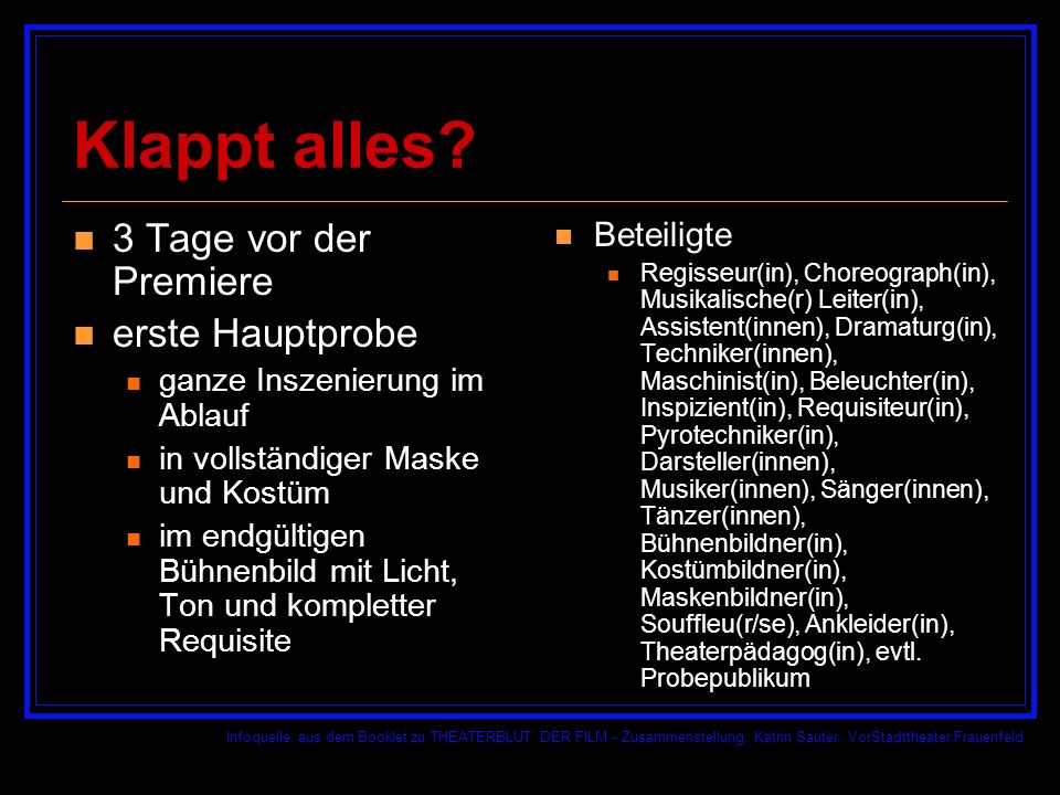 Infoquelle: aus dem Booklet zu THEATERBLUT DER FILM - Zusammenstellung: Katrin Sauter, VorStadttheater Frauenfeld Klappt alles.