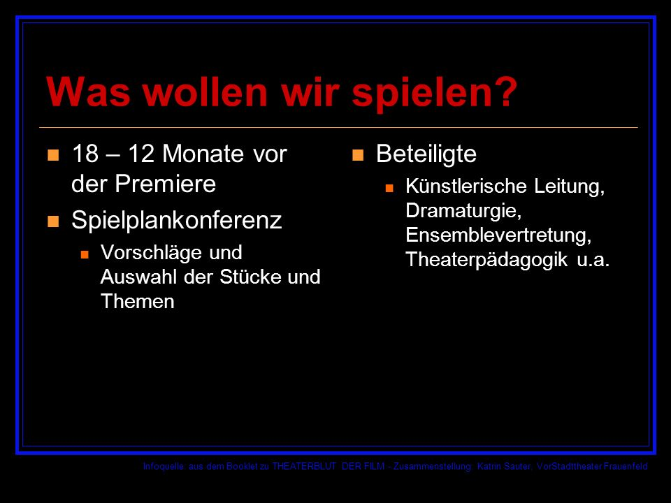 Infoquelle: aus dem Booklet zu THEATERBLUT DER FILM - Zusammenstellung: Katrin Sauter, VorStadttheater Frauenfeld Wen brauchen wir dazu.