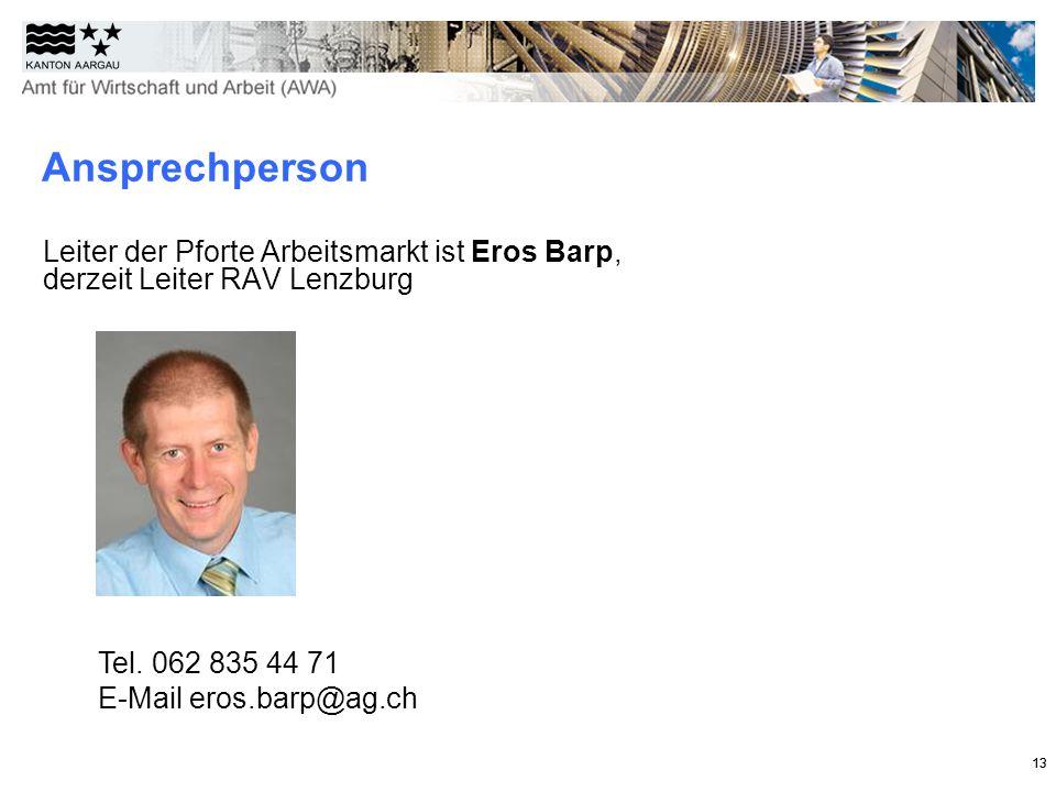 13 Leiter der Pforte Arbeitsmarkt ist Eros Barp, derzeit Leiter RAV Lenzburg 13 Ansprechperson Tel.