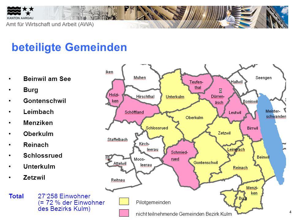 44 beteiligte Gemeinden Beinwil am See Burg Gontenschwil Leimbach Menziken Oberkulm Reinach Schlossrued Unterkulm Zetzwil Total 27258 Einwohner (= 72 % der Einwohner des Bezirks Kulm) Pilotgemeinden nicht teilnehmende Gemeinden Bezirk Kulm