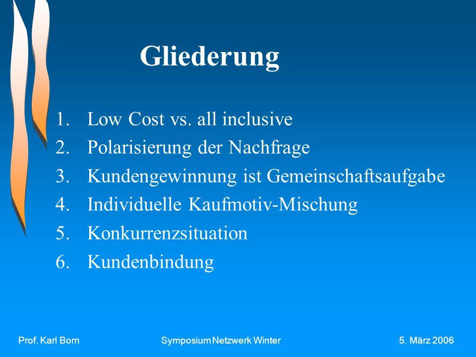 Prof. Karl BornSymposium Netzwerk Winter5. März 2006 Gliederung 1.Low Cost vs.